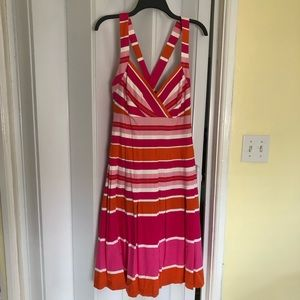 Striped dress with crisscrossed back NWT